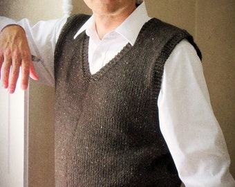 Men's Hand Knit Wool Sweater Vest - gray, green, blue, black brown