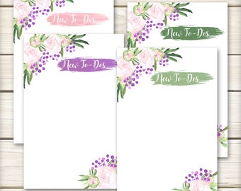 Peony To Do List - Watercolor Notepad - To Do List Notepads - 25 pages