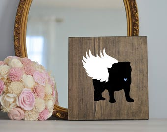 Bulldog Angel Wing Silhouette, Remembrance Sign, Dog Memorial, Loss of Dog