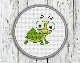 Little Grasshopper Counted Cross Stitch Pattern, Needlepoint Pattern - PDF, Instant Download