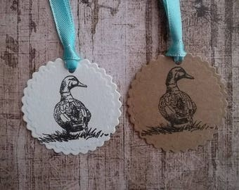 gift tag, hang tag, kraft tag, animal tag, duck tag, label, handmade tags, geschenk label, white tag,all occasion tag, handgemaakte label