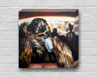 Chewy Needs Coffee - Superhero Chewbacca Star Wars 10x10 inch Art Canvas Print