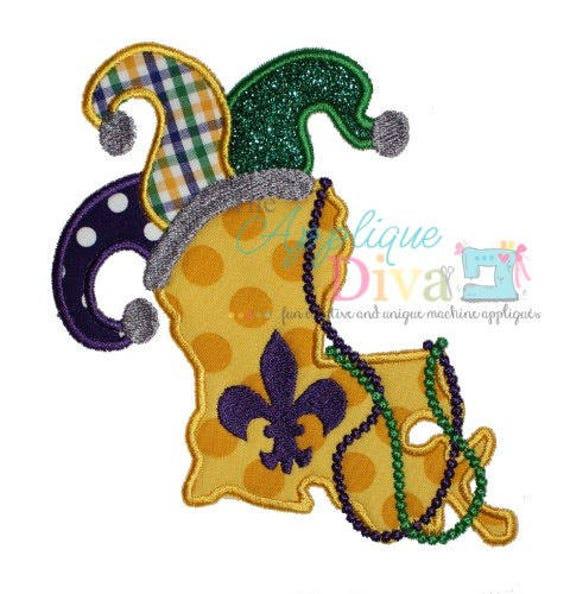 Mardi Gras Louisiana with Jester Hat, Jester Hat Applique, Mardi Gras Applique, Mardi Gras Shirt