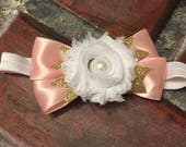 White Pink and Gold Floral Bow Headband