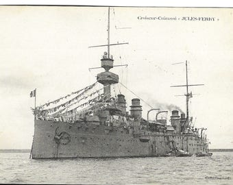 French WW1 Postcard Of The Battle Cruiser Jules Ferry