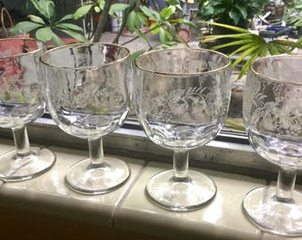 """Bartlett Collins """"Decoration 806 clear 22k gold rimmed."""" Golden Grape hand made  """"Etched"""" Glass Thumbprint 16oz Water Wine Goblets Set of 3"""