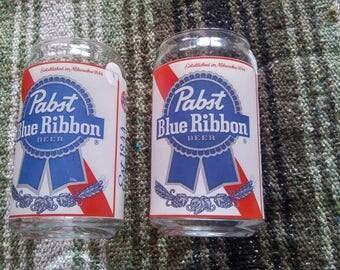 Vintage Pabst Blue Ribbon Beer Glasses Set of 2
