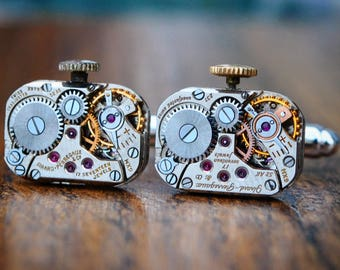 Girard Perregaux Watch Movement Cufflinks - Steampunk Silver Vintage Wedding Groom Gift Mens Christmas Present