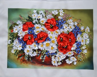 """Hand Embroidered picture """"Land Flowers Field""""  - Hamd embroi Picture - Silk Ribbon Embroidery - 3D Effect -NOT FRAMED"""