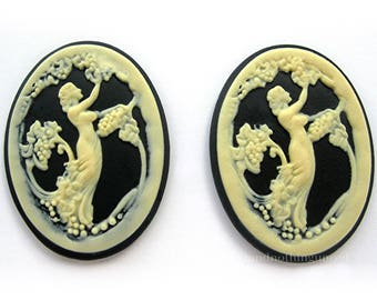 2 Cameos Italian Lady Picking Grapes Ivory Color on Black Demeter Goddess of the Harvest 40mm x 30mm Resin Cameo for Making Costume Jewelry