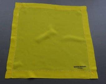 Sonia Rykiel Foulards Paris - Bright Yellow Double Layer Silk Handkerchief Hankie or Pocket Square