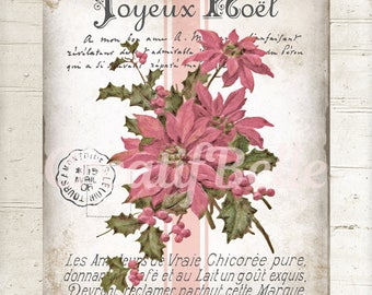 Victorian Pink Poinsettias Instant Digital Download Printable Christmas Flower Graphic Transfer Image 0974