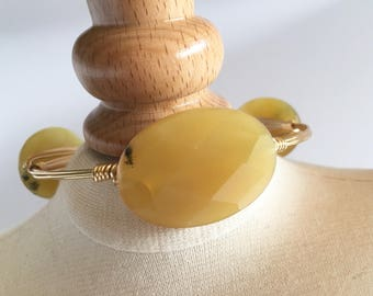 Yellow Jade Wire Wrapped Bangle, Wire Wrap Bangle, Wire Bsngle, Wire Wrapped Bracelet, Wire Wrap Bracelet, Gemstone Bangle