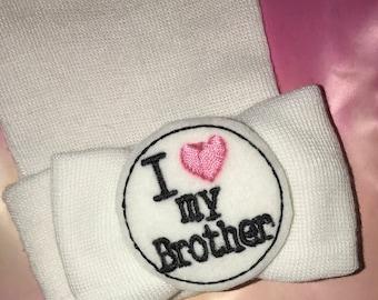 SALE Newborn Beanie Hat. I Love my BROTHER! Super Cute. Newborn Hospital Hat. Baby's 1st Keepsake