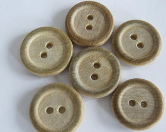 Beige (set of 3) natural wood button