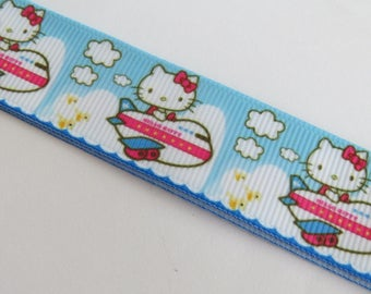 Pretty Blue Ribbon with cat motif and airplane