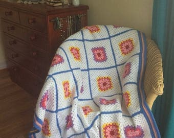 White Granny squares with Blue