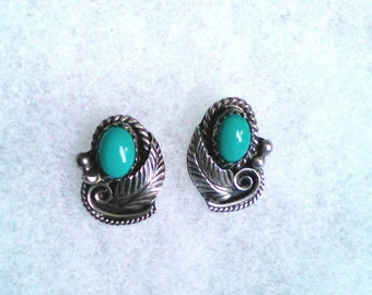 Sterling Turquoise earrings Native earrings Turquoise earrings signed jewelry feather earrings Native Indian tribal jewelry Native turquoise
