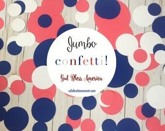 Confetti, SUPER JUMBO, circles, Patriotic, blue, party confetti, decor, red, white, american flag, USA, July 4th, Decorations, over 100