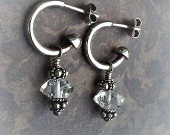 Herkimer Diamond Earrings-Sterling Hoops-Healing Crystals-Crystal Quartz-Post Earrings-Boho Chic-Indie Chic-Urban Chic-Sterling Jewelry