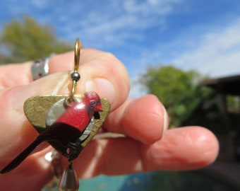 Handcrafted 925 Sterling Silver, Copper, Brass & Gold Hand Painted Cardinal Drop/Dangle Earrings, 1 1/4 Long, Wt. 4.3 Grams