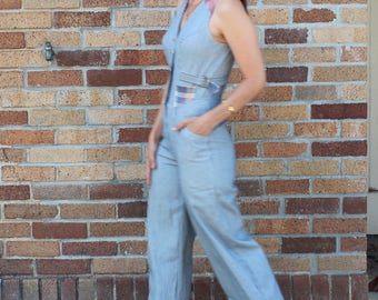 70s Jumpsuit/ Denim Jumpsuit/ Striped Jumpsuit/ Blue White Stripe/ XS Jumpsuit/ Hickory Stripe/ Railroad Stripe/ Disco/ Vest
