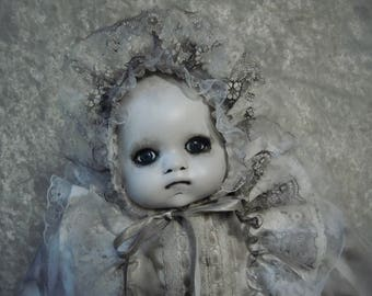 Creepy Baby Doll in Dirty Gown  #22 Dark Art  Horror Collectible  Day of the Dollies