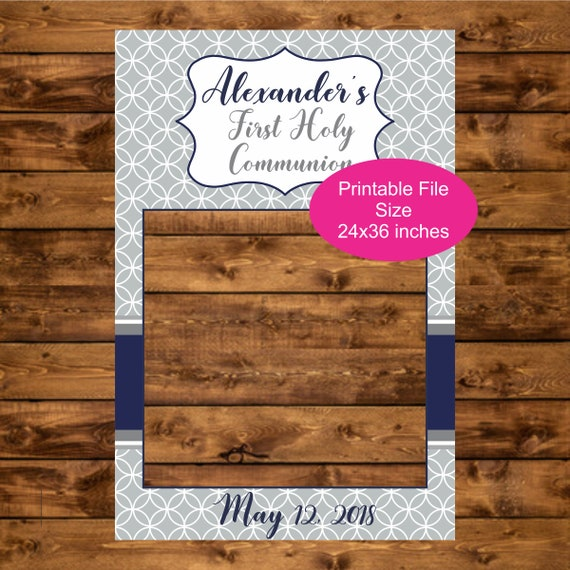 Holy Communion Photo Booth Frame, Printable 24 x 36 Personalized ...