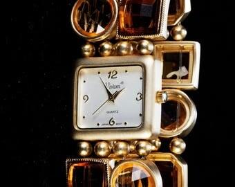 Vivani Ladies wristwatch, 80s, quartz, with polished stones