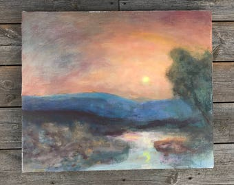 SWEDISH VINTAGE PAINTING / Original painting / Acrylic or oil on canvas / Art / Painting on canvas / Artwork / Wall hanging / Wall decor