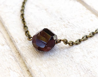 Garnet Necklace, January Birthstone, January Necklace, January Stone, Raw Garnet, Raw Garnet Necklace, January Birthstone Gift, Garnet Stone