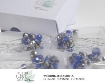 bridesmaids hairpins | bridal party gift | bridesmaid set | bridesmaid jewelry | something blue | hair pins blue | wedding hair accessories