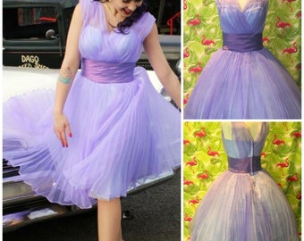 "Peachy Keen Collections 1950's reproduction vintage dress ""Blossom"" in violet AUS 10-12"
