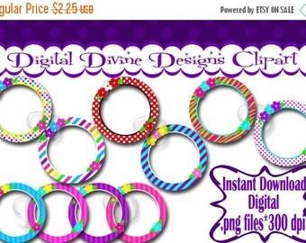 BTS Flower Circle Frames - Digital Clip Art Set  - Instant Download - .png files, Transparent Background