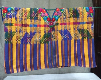 Purple/yellow Guatemalan vintage huipil blouse