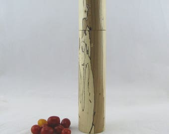Spices and peppermill grinder in spalted Maple ,Cylinder style / 11 5/8 in. / with rod mechanisme item no: 568