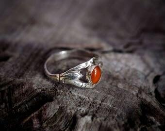 Carnelian Silver Ring / 925 Sterling Silver / Handmade