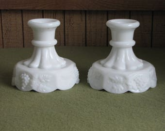 Vintage Westmoreland Milk Glass Candle Stick Holders Paneled Grapes Pattern