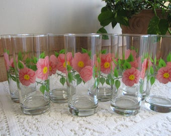 Franciscan Desert Rose Tumblers With Green Stems Vintage Dinnerware and Replacements Set of Eight (8) Bar and Drinkware