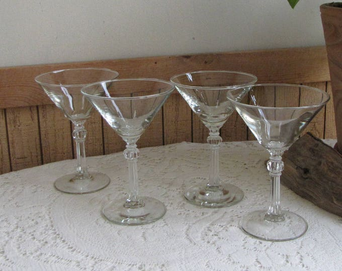 Martini Glasses Vintage Barware and Cocktails Mid Century Modern Set of Four (4) Martini's Glassware