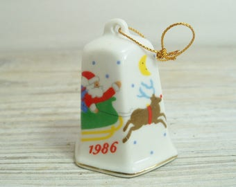 Vintage China Christmas Bell 1986 Lillian Vernon China Bell Santa and His Reindeer