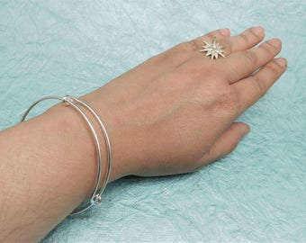 BRACELET ONLY - Universal Size - Bangle Bracelet - Silver Tone - Classic Simple Design - Handmade for Charms