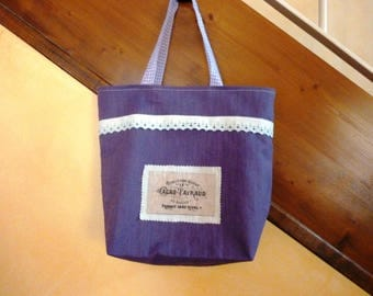 Purple and lined linen Liberty Tote