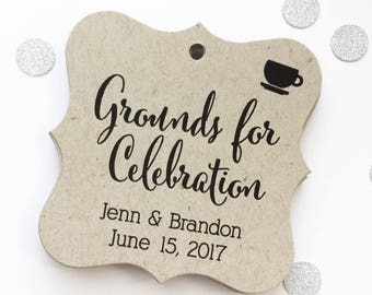 Grounds for Celebration Kraft Favor Tags, Tea or Coffee Cup Wedding Favor Tags, Wedding Hang Tags  (FS-092-KR)