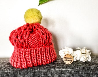 Coral and yellow Pompom Beanie