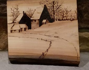 Country farm in winter woodburning