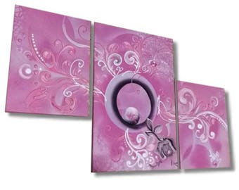 Pink Purple abstract painting love beads