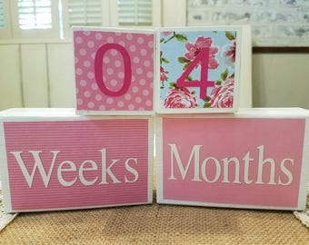 Baby Age Blocks, Countdown Blocks, Pink and Blue, Floral, Chevron, Custom Blocks, Baby Girl Gift, Baby Shower Gift, Baby Shower Decoration