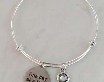 One Day at a Time Bracelet, Recovery Gift, Sobriety Gift, Healing Gift, Sobriety Bracelet, Recovery Bracelet, NA, AA Sponsor Gift