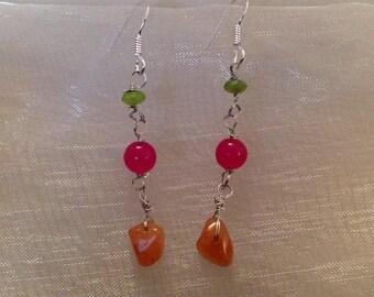 Earrings Silver 925, 3 green gemstones pink and orange